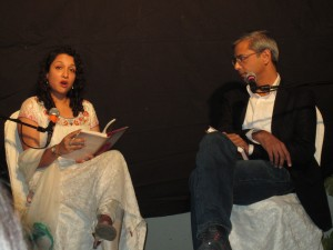 Haider reading from her novel