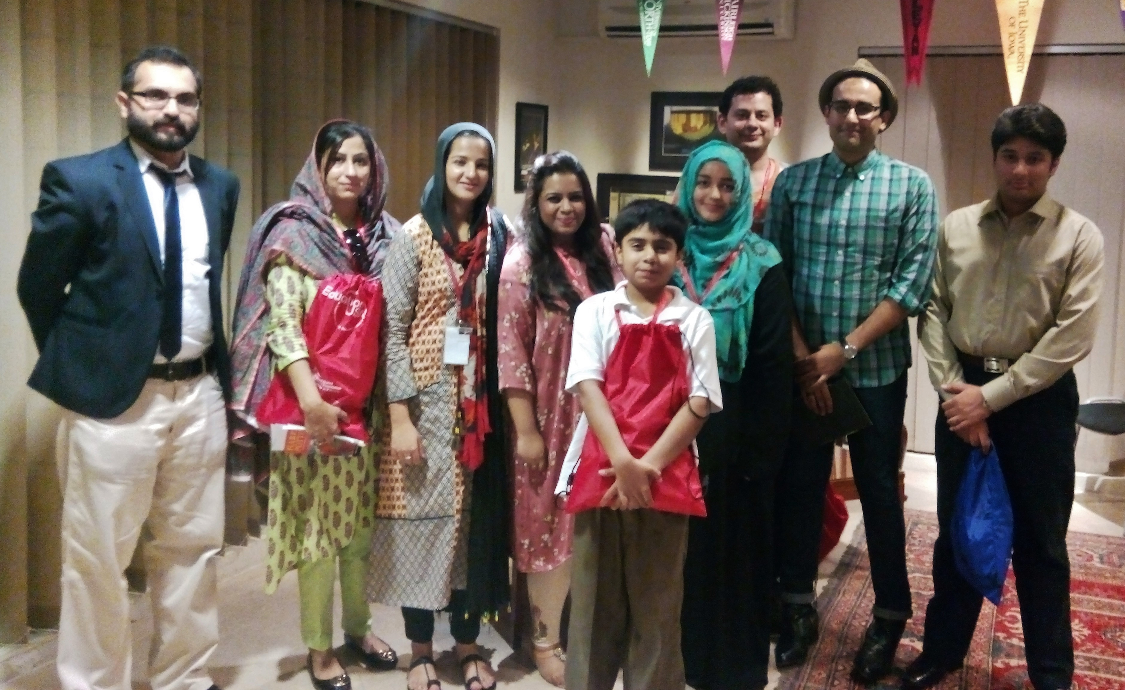 Group photo of the winners with the jury members - Winners: Arsalan Qureshi (right), Eissa Saeed (2nd from right), Raza Naeem (last row) and Amina Gillani (2nd from left).