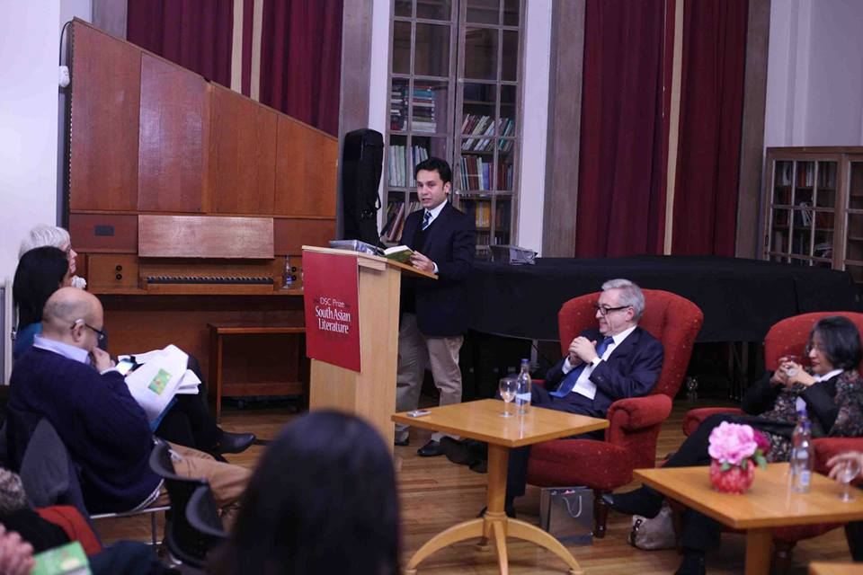 Jury Member Razi Ahmed of the Lahore Literary Festival speaking at the DSC Shortlist Announcement Ceremony. Photo Courtesy of DSC Prize Facebook page.