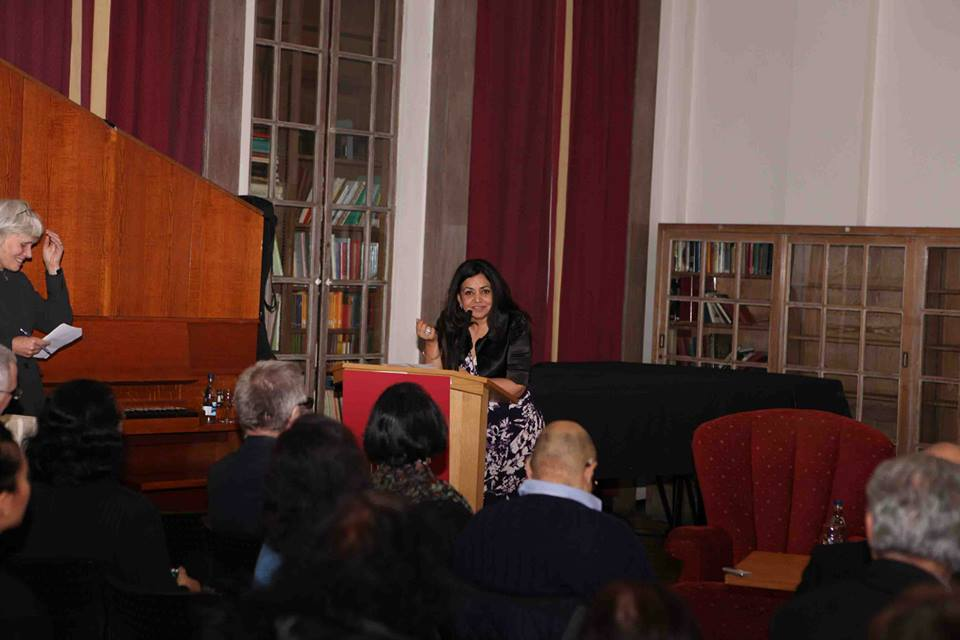 DSC Prize co-founder Surina Narula speaking at the shortlist announcement ceremony. Photo courtesy of DSC Prize Facebook page.