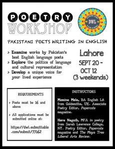 Lahore Poetry Workshop Flyer