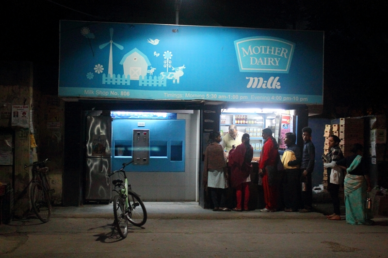The dairy stands where it has always been. It used to be the joyful highlight of the day for many children in the neighbourhood, like the author who'd walk there with her grandmother and marvel at the metallic cow giving milk. Most current residents opt to send house servants to fetch milk. Photo by Simar Preet Kaur