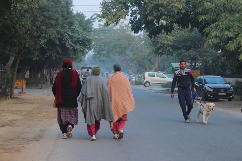 Within the residential sectors, determined gossip-fuelled walks continue like they have since Noida's inception. Photo by Simar Preet Kaur
