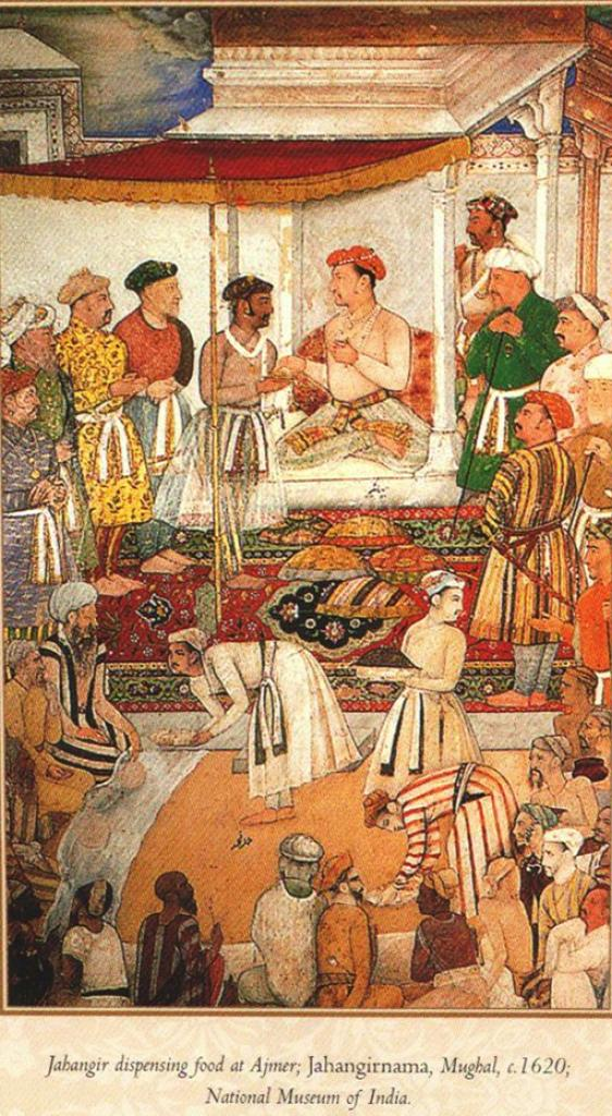 Jahangir dispensing food at Ajmer, Jahangirnama, Mughal, 1620