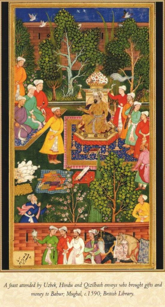 A feast attended by Uzbek, Hindu and Qizilbash envoys who brought gifts and money for Babur 1590