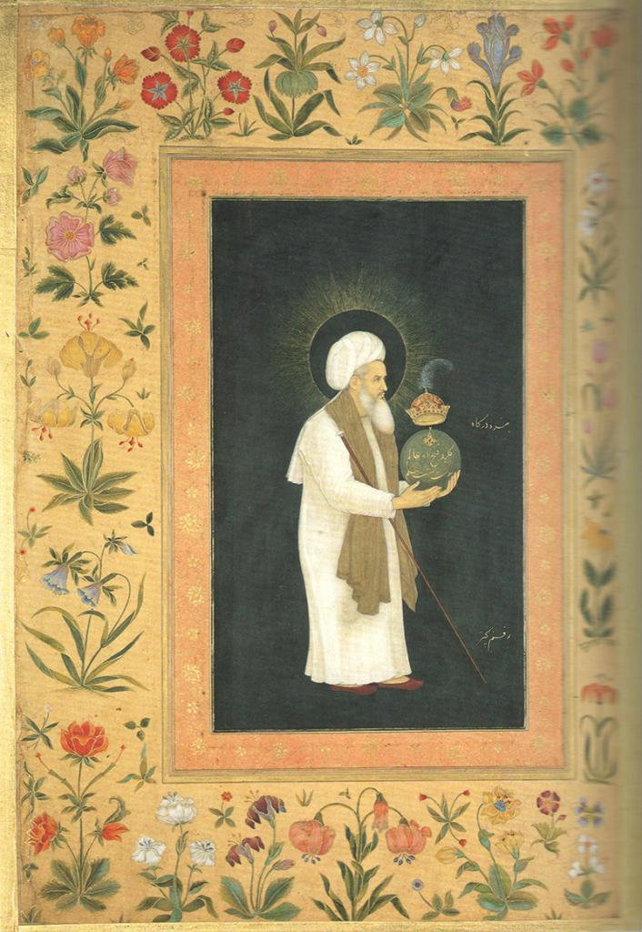 Mu'in al-Din Chishti Holding a Globe by Bichitr, 1610-1618 from the Minto album